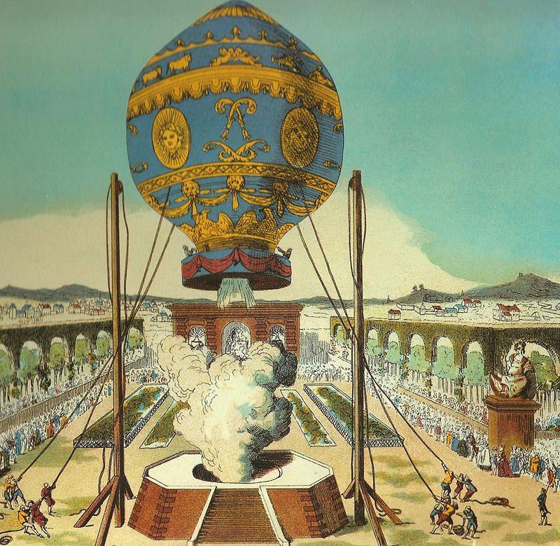 Een van de eerste vluchten met een luchtballon