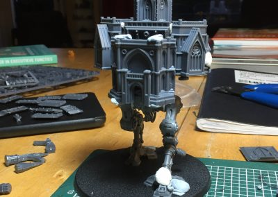 First sketches combining the Armiger Helvering and Adeptus Titanicus Spires kits